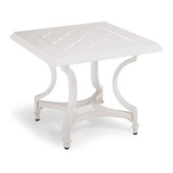 Frontgate - Grayson Outdoor Side Table in White Finish, Patio Furniture - Crafted of 100% ingot aluminum. Solid cast aluminum. Adjustable foot glides allow for uneven surfaces. Glossy White Finish. Requires some assembly. Play hostess during party season without a care. Our Grayson Side Table sports a beautiful lattice design achieved in solid aluminum. This timeless collection is elegant without being fussy. Made to endure season after season with hand-filed welds, a durable powdercoated finish and all-weather cushions.Part of the Grayson White Collection.  .  .  .  .  . Imported.