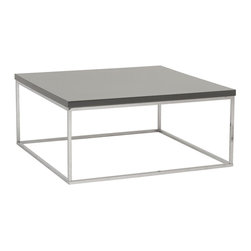 Euro Style - Teresa Square Coffee Table in Gray - Chromed steel base. Easy to clean high gloss lacquer. Color/Finish: Gray Lacquer/Chrome. 36 in. L x 36 in. W x 15 in. H