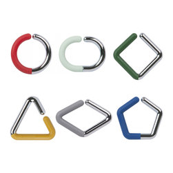 Shape Up Wine Charms - Set of 6 - At your next get together, choose these fun wine charms to make your guests' time easier and more stylish. Each charm has a different geometric shape in chrome and colorful rubber.