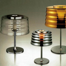 Chrome Finish Ripple Glass Drum Table Lamp - Chrome Finish Ripple Glass Drum Table Lamp is the best choice for your modern home decoration. It is in good designing with good quality. You are allowed to set them in the right room for perfect warm light. And it will also decorate your home with its stylish shape.