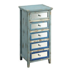 Coast To Coast - Dez Blue Palette Rub-Through Accent Cabinet with Mirorred Accen - Dez Collection Cabinet