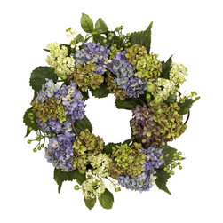 """Nearly Natural - 22"""" Hydrangea Wreath - Hydrangeas come in all manner of colors, and we've captured some of nature's best in this stunning 22"""" wreath. With several different blooms in all manner of maturity stage and hues, surrounded by an assortment of green leaves and berries, this wreath presents an endless array of """"oooh, look at that!"""" Makes an ideal """"year-round"""" wall decoration, and also makes a thoughtful gift."""