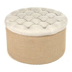 Kathy Kuo Home - Riley French Country Round Linen Burlap Tufted Ottoman - This adorable ottoman will bring dimension to your modern or French country decor with a perfectly cylindrical shape and comfy tufted seat. Two natural fabrics and hues enhance the neutral look of this piece and make it both elegant and versatile enough for your living room, bedroom or library.