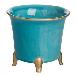 Abigails - Jaipur Cachepot, Turquoise with Gold, Small - An easy to use cachepot that is a best seller.  Ideal when just a pop of color is needed. Made in Portugal of ceramic.