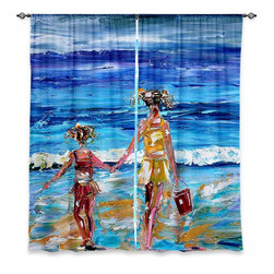 """DiaNoche Designs - Window Curtains Unlined - Karen Tarlton Beach Babes With Bucket - Purchasing window curtains just got easier and better! Create a designer look to any of your living spaces with our decorative and unique """"Unlined Window Curtains."""" Perfect for the living room, dining room or bedroom, these artistic curtains are an easy and inexpensive way to add color and style when decorating your home.  This is a woven poly material that filters outside light and creates a privacy barrier.  Each package includes two easy-to-hang, 3 inch diameter pole-pocket curtain panels.  The width listed is the total measurement of the two panels.  Curtain rod sold separately. Easy care, machine wash cold, tumbles dry low, iron low if needed.  Made in USA and Imported."""