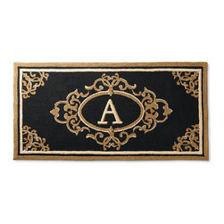 """Frontgate - Harrison Monogrammed Entry Mat - Black, D, 30"""" x 48"""" - Looks and feels like an indoor rug but tough enough to withstand outdoor conditions. Hand Hooked of durable 100% polypropylene yarns. Resists fading, mold and mildew. Rinse clean with a hose and mild soap and then dry in the sun. Rug pad (sold separately) facilitates water drainage and holds mat in place. Greet guests in classic style with our elegant hand-hooked Harrison Entry Mat. Handcrafted like an indoor rug but durable enough to live outdoors, the rug has a .20"""" low profile that is plush enough to brush off dirt while absorbing slush and rainwater.  .  .  .  .  . Imported."""