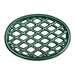 John Wright - Lattice Trivet, Green Majolica - Designed to match our large Majolica Steamers, these trivets are porcelain-coated to resist rusting and chipping. The Majolica technique has a long, rich history in ceramics. By the time of the Italian Renaissance, Majolica had reached the height of technical perfection, and was exported all over the world, usually via the isle of Majorca, thus the name Majolica. It produces a deep, rich color with a high gloss. Used under Steamers, they protect your woodstove from scratches and also slow down the heating process (so you don't have to fill the steamers as frequently!). But there are many other creative uses - in the kitchen under hot pans, under a potted plant, or as the base of a table centerpiece.
