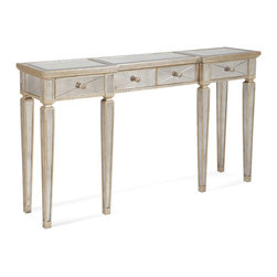 Bassett Mirror - Borghese Console Table with Drawers - Hand worked and beveled antique mirror over veneers and hardwood solids and antique silver finish. All mirror edges are encapsulated in a wood frame. Borghese Collection.