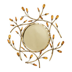 """Welcome Home Accents - Topaz Crystal Round Mirror - Use this elegant mirror in any room for added decor and a convenient mirror.  Beautiful round decorative mirror features a gold metal finish framed by faceted  topaz floral gems.  Hanger on back for easy hanging.  Dust with a dry cloth.  Mirror only is 9"""" in diameter. No assembly required."""