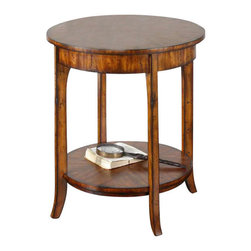 Uttermost Carmel Round Lamp Table - Casual styling in warm, old barn finish with distressed primavera veneer. Casual styling in warm, old barn finish with distressed primavera veneer.