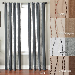 None - Vastitude Stripe Rod Pocket 84-inch Curtain Panel - Give your window an updated look with these striped window curtain panels. Modern semi-sheer stripes with embroidered detail add some glamour to your room without going overboard. These panels look great with any decor,elegantly framing a window.