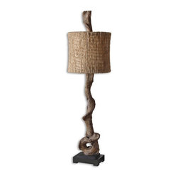 Uttermost - Uttermost Driftwood 40.125 Inch Buffet Lamp - Weathered driftwood finish with a matching finial and a matte black base. The round drum shade is natural twine with an open weave construction and off white inner liner.