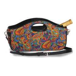"Picnic Plus - Nola Wine Clutch , Jewel Paisley - Picnic Plus Nola Wine Bottle Clutch, Jewel Paisley. Color/Design: Jewel Paisley; Perfect accessory for toting a full size wine, or champagne bottle; With the fully zippered top closure; Insulated lining; Adjustable, detachable shoulder strap; Inside zippered pocket hold keys, ID, wine opener and more; Patent Pending. Dimensions: 14""W x 4""D x 8""8"