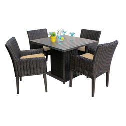 TKC - Rustico Square Dining Table with 4 Chairs 2 for 1 Cover Set 2 Yr Fade Warranty - Crafted for the outdoors, our Rustico square dining table serves a modern yet comfortable style in any setting. Seat up to four guests around the intricately woven all-weather wicker and powder-coated aluminum top. Pull up a few coordinating dining chairs and enjoy!