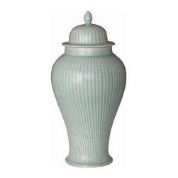 Belle & June - Celadon Temple Jar - With its subtle bamboo pattern, this pleasing Chinese temple jar would look amazing in any room in your house. This sophisticated porcelain jar would make a lovely accent piece on your mantle or repurposed as a stately flower vase.