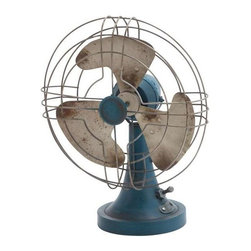 Benzara - Metal Plated Chrome Accent Metal Fan Table Top with Easy Usage - Metal Plated Chrome Accent Metal Fan Table Top with Easy Usage. This powerful table fan brings home the retro style of design. Some assembly may be required.