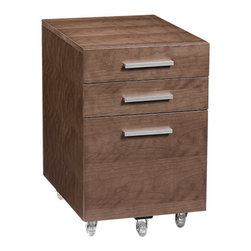 BDI - Sequel File Pedestal-Walnut - The Sequel File Pedestal makes the perfect companion to the BDI Sequel Desk. The mobile pedestal fits snug under the desk top, while offering much needed storage with 3 pull-out drawers. Choose between 3 color options.