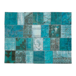 Limited Edition - Limited Edition Mystic Carpet (Turquoise Green) - Composed from old Turkish carpets which are bleached, re-dyed, cut, serged, and sewn with a beautiful, new backing to create one-of-a kind designs. Each Mystic shows the natural wear of the antique carpets from which it is fashioned. Composed of wool tufting. Price includes shipping to USA. Standard sizes ship in 6-8 weeks; custom sizes available with 16 week lead time. Manufactured by Limited Edition.
