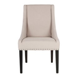 """Safavieh - Britannia Taupe Chair Set of 2 - Classic style receives a contemporary update with the Britannia chair's graceful design. Sloped arms, exposed legs and nailhead trim offer the taupe linen seat elegant allure. 25.8""""W x 23.6""""D x 38.6""""H; 100% taupe linen; Espresso birchwood legs; Exposed nickel nailheads; Spot clean only"""