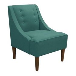 Swoop Arm Chair - Teal Linen - Add modern appeal to any room with the Swoop Chair – Teal Linen. This chair features a swoop arm design for an elegant look that blends well with any style. A sturdy wood frame and tapered legs in espresso complement its tufted back and teal linen upholstery.About Skyline Furniture Manufacturing Inc.Skyline Furniture was founded in 1948 with the goal of producing stylish, affordable, quality furniture for the home. After more than 50 years, this family-run business is still designing and manufacturing unique products that meet the ever-changing demands of the modern home furnishing industry. Located in the south suburbs of Chicago, the company produces a wide variety of innovative products for the home, including chairs, headboards, benches, and coffee tables.