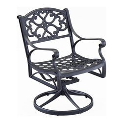 HomeStyles - Outdoor Swivel Dining Chair (Black) - Finish: BlackHand antiqued powder coat finish sealed with a clear coat to protect finish. Nylon glides on all legs. Stainless steel hardware. Made from cast aluminum. Black color. Seat height: 16 in.. Overall: 22.4 in. W x 22.05 in. D x 33.46 in. H. Warranty. Assembly Instructions