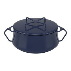 Inova Team -Midcentury Coated Steel Saucepan, Blue - Recently revived for a new generation to enjoy, this pan evokes all the warm mid-century charm of the originals. This enduring classic features distinctive three-point handles and a cleverly conceived lid that doubles as a trivet and makes stacking a snap. The finishing touch? Three coats of glossy blue enamel, for mixing and matching perfectly with vintage pieces or contemporary cookware.