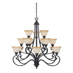 Designers Fountain - Tuscan Fifteen Light Up Lighting Three Tier Chandelier - Refined elegance with a timeless appeal is combined with the appearance of hand forged softly scrolled ironwork. The Barcelona collection captures the essence of the Old World yet emanating casual charm. Headquartered in a state-of-the-art 225,000 square foot facility in the Los Angeles area.