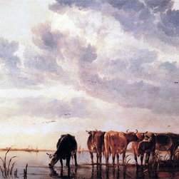 "Aelbert Cuyp Cows in a River - 16"" x 20"" Premium Archival Print - 16"" x 20"" Aelbert Cuyp Cows in a River premium archival print reproduced to meet museum quality standards. Our museum quality archival prints are produced using high-precision print technology for a more accurate reproduction printed on high quality, heavyweight matte presentation paper with fade-resistant, archival inks. Our progressive business model allows us to offer works of art to you at the best wholesale pricing, significantly less than art gallery prices, affordable to all. This line of artwork is produced with extra white border space (if you choose to have it framed, for your framer to work with to frame properly or utilize a larger mat and/or frame).  We present a comprehensive collection of exceptional art reproductions byAelbert Cuyp."