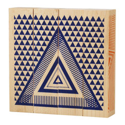 Tree Hopper Toys - Puzzled Blocks, Shapes - A simple yet engaging 4-sided block puzzle that exercises visual and cognitive skills.  Kids and parents alike will appreciate this vibrant, unique puzzle.  When not in use, this hand printed puzzle doubles as a one-of-a-kind art object to help accessorize any shelf in a hip kid's room!