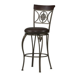 "Linon - Fleur De Lis Bar Stool 30"" - Dimensions: 20 x 17 x 46 inches"
