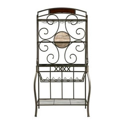 "Powell - Whitman Baker'S Rack With Wine Rack In A Bronze Finish - Whitman Baker's Rack with Wine Rack in a Bronze finish.  The Whitman Bakers Rack features an eyecatching curve and scroll design. Curved front legs anchor the piece. Four shelves, a wine glass rack and a wine bottle rack provides ample storage space for all of your kitchen or dining room needs.  Some assembly required.  Baker's Rack measures:  37"" x 17"" x 73"" tall.  Some assembly required.  Material Content: metal, MDF & Paper Veneer"