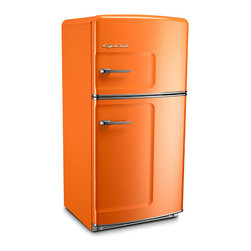 Bill Chill Retro Refrigerator - Imagine: an all-white kitchen with just a pop of orange from this refrigerator sticking out. Not only do I love its bright color but retro style is awesome too — just check out those handles and rounded corners. Everyone that comes over will ask you about this fridge, and if you can't get one in your kitchen, try it for your basement, media room or man cave.