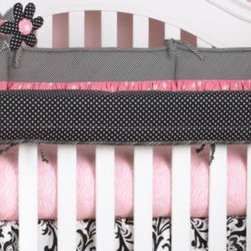 Cotton Tale Designs - Girly Front Cover Up - A quality baby bedding set is essential in making your nursery warm and inviting. All Cotton Tale patterns are made using the finest quality materials and are uniquely designed to create an elegant and sophisticated nursery. Girly offer this great idea, this rail cover-up which protects your foot board on the convertible cribs and it looks great. For the parent choosing not to use a bumper, it can add the needed decor lost when the bumper is removed. It also can be used with a full bumper. All Cotton Tale and N. Selby patterns have crib rail cover-ups. Wash gentle cycle, separate, cold water. Tumble dry low or hang dry. Functional and fun this Girly Crib Rail Front Cover Up is perfect for a girls nursery.