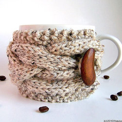Oatmeal Cup Cozy by Natalya's Studio - Keep your mug of tea or coffee warm — and add some great style too — with this cup cozy.  it fits most mugs and is available in other colors and a choice of three different buttons.