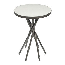 Olivet Leather Side Table - This funky side table has a wrought iron base hand-formed to look like rattan. The table top is a light gray colored shagreen leather. It would look great next to a sofa or chair in the living room!