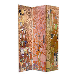 Oriental Furniture - 6 ft. Tall Double Sided Works of Klimt Room Divider - Stoclet Frieze - Sturdy, portable folding screen, built from art quality canvas stretched over kiln dried wood frame panels. On both sides is a collage of three of Gustav Klimt's most well-known works. Add a splash of warm color and artistic design to the interior of any room, home or office.