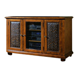 Hooker Furniture - Hooker Furniture Telluride Plasma Console Wood with Leather - Add style and storage to the entertainment area of your home with this console from the Telluride collection. Features: Material: Hardwood Solids and Veneers; Distressed Wood Finish Carved Leather with Nail head Trim. Style: Traditional. Two outside doors with carved leather panels; each opens to reveal two adjustable shelves and one stationary shelf. One wood-framed glass center door opens to reveal two adjustable and one stationary shelf. Console Accommodates Most 50 And Some 60 Plasma, Dlp And Lcd Monitors. Please Measure The Television You Are Purchasing Or Own, As TV Manufacturers Change Sizes Every Model Year. Levelers. Finished top. Finish: Distressed Wood Finish Carved Leather with Nail head Trim.