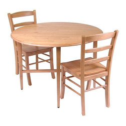 Winsome Wood - Drop Leaf Table w Two Ladder Back Chairs - This lovely dinette set features a drop leaf round table with a solid tropical wood construction and a sleek, light oak finish. It includes two ladder back chairs that create an intimate ambience for romantic meals. * Constructed of solid Tropical HardwoodLight Oak finishChairs: 34.7 in. H x 16.6 in. W x 20.5 in. DTable:. 29.5 in. H x 42 in. W x 42 in. D