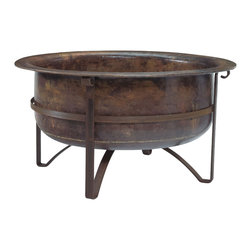 """Jatex International - Handcrafted Rustic Acadia Outdoor Fire Pit- 100% Copper Bowl, Iron Accents, 42"""" - This rustic, sturdy fire pit adds a touch of minimalist elegance to any outdoor space. Featuring a design exclusive to Jatex International, the deep copper bowl radiates intense heat, perfect for cozying up to on cool summer nights. With exposure to the elements the copper will age for a natural verdigris effect, making your piece truly one of a kind."""