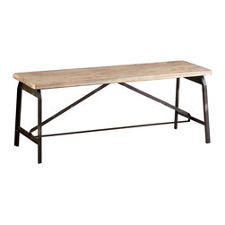 Kathy Kuo Home - Laramie Modern Rustic Iron Solid Wood Industrial Bench - The natural beauty of raw iron and wood deliver an earthy, organic character to the spare lines of the Laramie bench.  Drawing from Scandinavian minimalism, arts and crafts furniture, and industrial loft designs, it makes great seating for a grand simple dining table, hallway or entryway.
