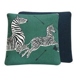 Chloe and Olive - Green Zebra Print Scalamandre 20x20 Throw Pillow - This iconic, prancing print by Scalamandre will bring vivacity and glamour to a couch, bed or chair. With a stunning pair of zebras on each throw pillow, the exquisite combination of Serengeti green, black and white will be a favorite for many seasons to enjoy. Scalamandre is a well known manufacturer of the finest quality fabrics for over 80 years.