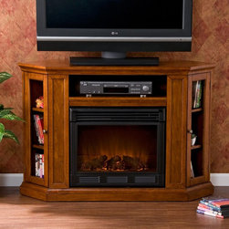 """Southern Enterprises - Southern Enterprises Claremont Brown Mahogany Media Console with Electric Firepl - Shop for Fire Places Wood Stoves and Hardware from Hayneedle.com! It's as versatile as it is beautiful: the Southern Enterprises Claremont Brown Mahogany Media Console with Electric Fireplace includes a collapsible top shelf that allows you to use it as a corner unit as well as on a flat wall. A warm mahogany finish to the wood is highlighted by a soft satin polish. This treatment includes distressing and """"worm holes"""" for a natural aged look. Two glass doors on either side are angled and have adjustable shelves to accommodate all your gear in this surprisingly portable unit. The open electronics shelf on top has convenient concealed access holes for cable management to keep your room looking tidy and organized. The easy-to-use fireplace requires no electrician. Just plug it in turn it on and enjoy the cozy atmosphere and LED flames in your home or office. It's energy-efficient too. It heats 1500 cubic feet in only 24 minutes using about the same energy as a coffee maker and produces zero emissions or pollutants. It's safe as well: the glass stays cool to the touch. So kick off your shoes pick up the included remote control and start relaxing in the warm glow. Plus you can enjoy the flames year-round with or without heat.Top shelf dimensions: 23W x 13D x 5H inchesSide cabinet dimensions: 8W x 7.5D x 24H inches About SEI (Southern Enterprises Inc.)This item is manufactured by Southern Enterprises or SEI. Southern Enterprises is a wholesale furniture accessory import company based in Dallas Texas. Founded in 1976 SEI offers innovative designs exceptional customer service and fast shipping from its main Dallas location. It provides quality products ranging from dinettes to home office and more. SEI is constantly evolving processes to ensure that you receive top-quality furniture with easy-to-follow instruction sheets. SEI stands behind its products and service with """
