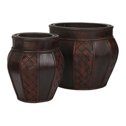 Nearly Natural - Wood and Weave Panel Decorative Planters (Set of 2) - This two-vase collection comes in different sizes for decorating ease. Place your different sized blossoming arrangements or plants to compliment the beauty or just enjoy them on their own anywhere (they're that pretty). Each vase comes with a dark wine reddish brown finish with enough variation to give it a unique look. Segmented trim separates the tropic inspired cross thatching and smooth leathery looking dark brown background.