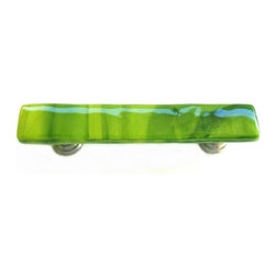 Uneek Glass Fusions - Pear, Yellow, Green Fused Glass Pull - Oil Rubbed Bronze - Collection: Liscio