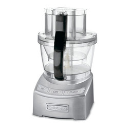Cuisinart Elite 12 Cup Die Cast Food Processor - Combining the Cuisinart tradition of culinary excellence with groundbreaking innovation  the Cuisinart Elite Collection 12-Cup Food Processor sets the bar for the next generation of kitchen appliances. With a 4-cup work bowl nested inside the big bowl  plus the adjustable 6-position slicing disc and reversible shredding disc  it provides home chefs with multiple food processors in one! The exclusive SealTight Advantage System is designed to deliver maximum bowl capacity and clean processing and pouring. It is truly the finest food prep appliance available for today's modern kitchen.Product Features                                   2 Food Processors in 1            12-cup Large Bowl and 4-cup Small Bowl with Pour Spouts & Measurement Markings            Exclusive Patent-Pending SealTight Advantage System - Seals Bowls and Locks Blades            Easy On/Off Locking System with Push-Button Release            Stainless Steel Adjustable Slicing Disc (1 to 6mm)            Stainless Steel Reversible Shredding Disc (fine/medium)            Large and Small Stainless Steel Chopping/Mixing Blades with BladeLock System            Dough blade            Cuisinart Supreme Wide-Mouth  Feedtube and Cover Assembly            Electronic Touchpad Controls - On/Off/Pulse  with Blue LED lights            1000-Watt Peak Power Motor            Includes spatula  how to DVD  recipe & instruction book            All removable parts are  dishwasher safe            10 year motor warranty  Limited 3-Year Warranty