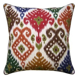 Ikat Decorative Pillow in Red, Blue, Gold and Brown - Festive and fun describes this cute pillow with an Ikat print design.  These colors are bold and beautiful.  They will make a wonderful design statement in any room.