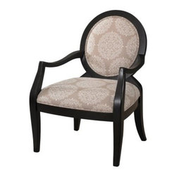 Powell Batik Pearl Black Framed Chair - Not all chairs are created equal - and some, like the Powell Batik Pearl Black Framed Chair, are definitely created more elegantly. Crafted with a durable wood frame, this Art Deco-inspired chair gets drama from a sleek, glossy black finish against light, lightly exotic batik-print upholstery. The high oval back and softly angled arms and legs are interesting and subtle. It's perfect for letter writing in the living room and poetry reading by the fire.