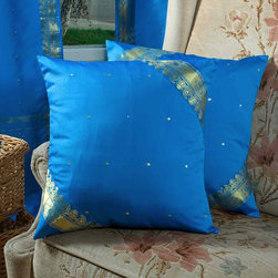 Indian Selections - Set of 2 Blue Decorative Handcrafted Sari Cushion Cover, 16x16 inches - 6 Sizes available