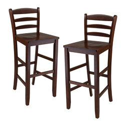 "Winsome Wood - Winsome Wood Set of 2 - 29 Inch Bar Stool w/ Ladder Back - The simple and straight forward, yet classic look of these 30"" ladder back stool allow them to be used with a variety of decors from country to contemporary. Their design and rich Antique Walnut finish is a perfect match to high pub table. Seat Dim 16.34"" x 15.55"" Seat Height 30"", Back Rest Dim 16.58W x 12.37""H Made of Solid wood and Ready to Assemble. Barstool (2)"