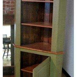 Open Face Corner Cabinet Bayberry Green - Made by http://www.ecustomfinishes.com